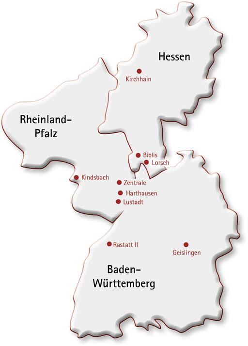 Karte Baden Württemberg Rheinland Pfalz.Standorte